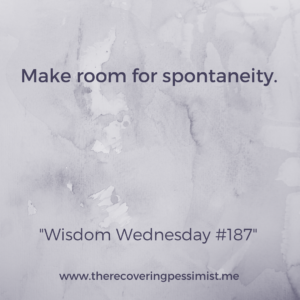 The Recovering Pessimist: Wisdom Wednesday #187 -- You can't plan for everything in life. There's no fun in that. Make room for the spontaneous moments that create memories, opportunities, etc. | www.therecoveringpessimist.me #amwriting #optimisticpessimist #recoveringpessimist #optimisticpessimist #wisdomwednesday