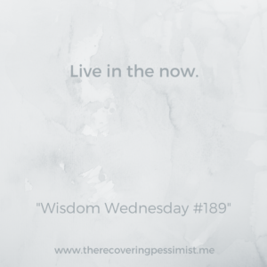 The Recovering Pessimist: Wisdom Wednesday #189 -- Don't get so wrapped up in the future that you forget to exist in the now. | www.therecoveringpessimist.me #amwriting #recoveringpessimist #optimisticpessimist #wisdomwednesday